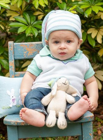 Handmade Knit Striped white & Blue Baby/ Toddler Bunny Ear Hat - Fair Trade