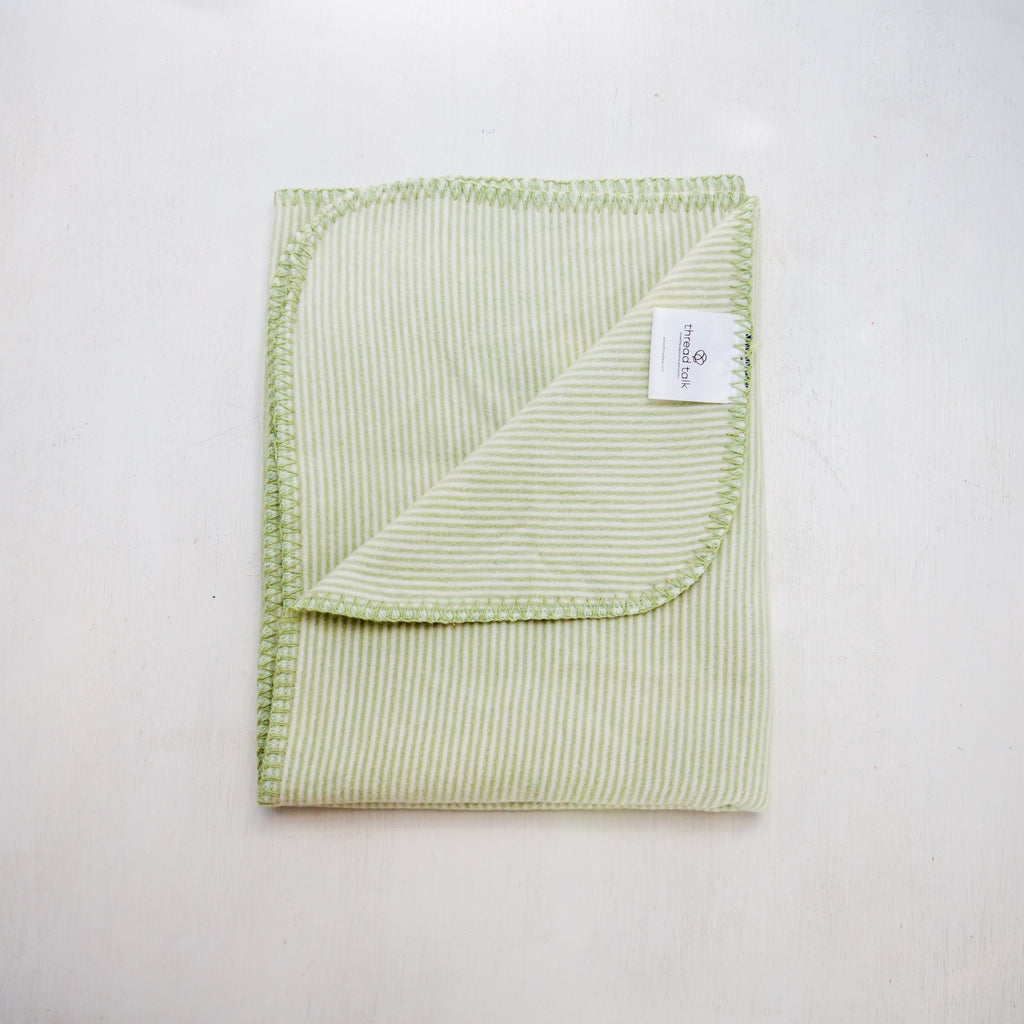 "Organic Cotton Green Blanket - 30x40"" - Supports Domestic Violence Victims"