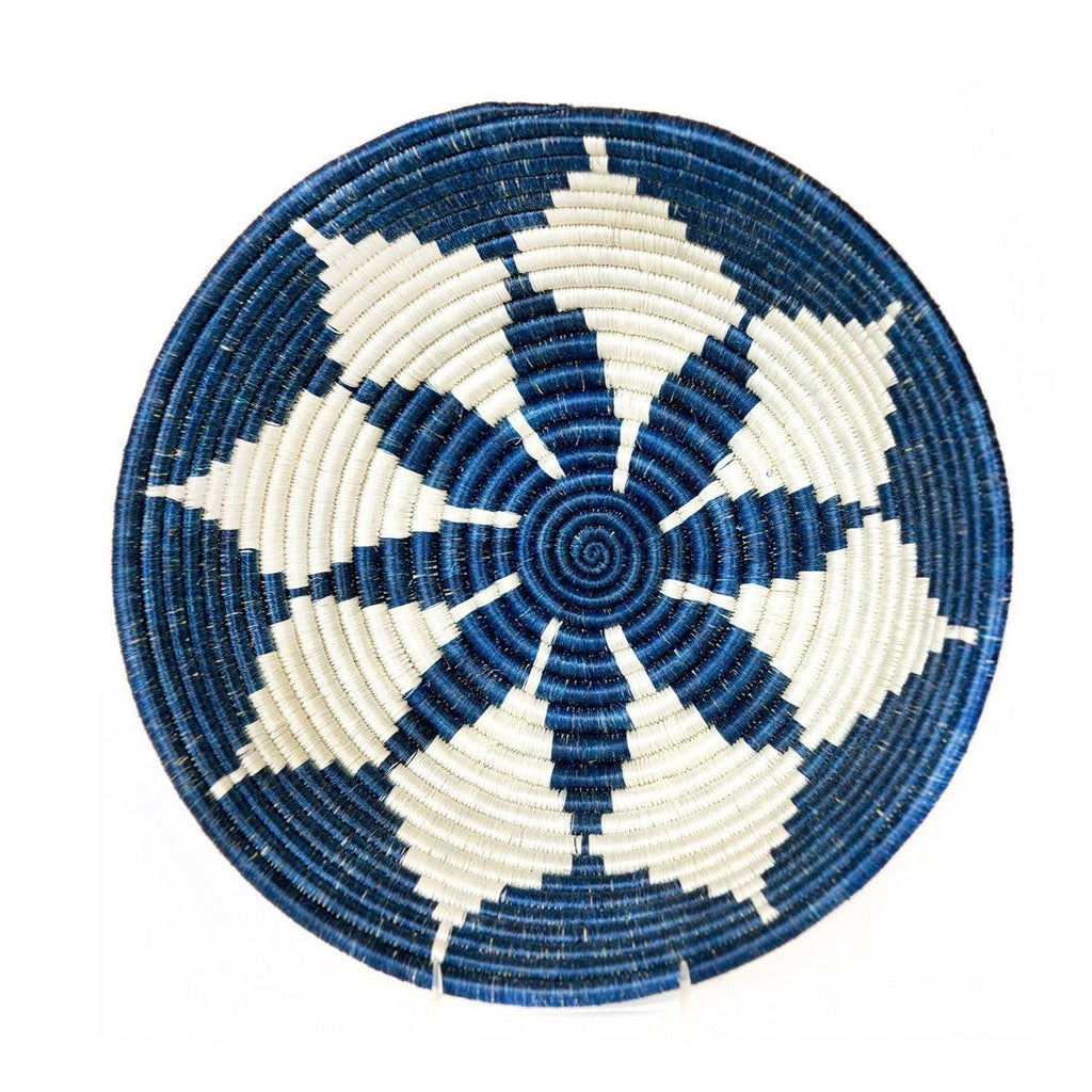 "Handwoven 12"" Large Blue Flower Round Fruit Basket Bowl- Fair Trade, Rwanda"