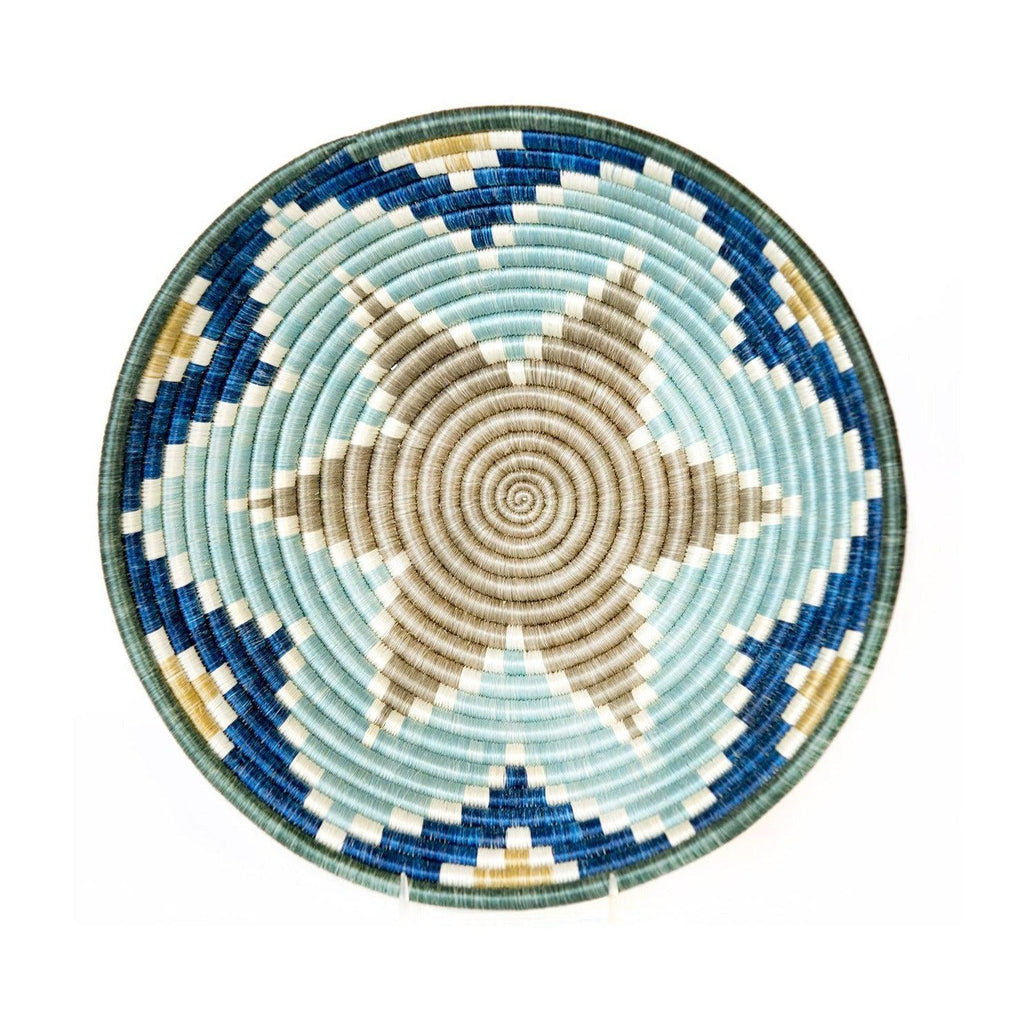 handwoven fair trade blue basket bowl from Rwanda, Africa