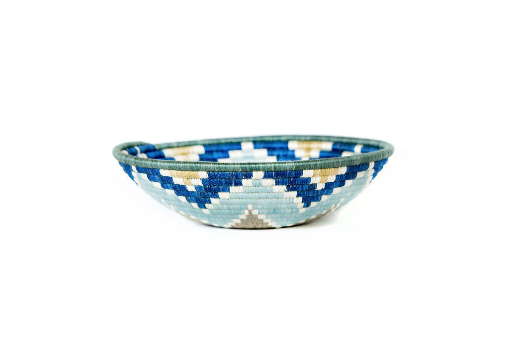"12"" Silver Blue  Basket Bowl - Fair Trade, Rwanda"