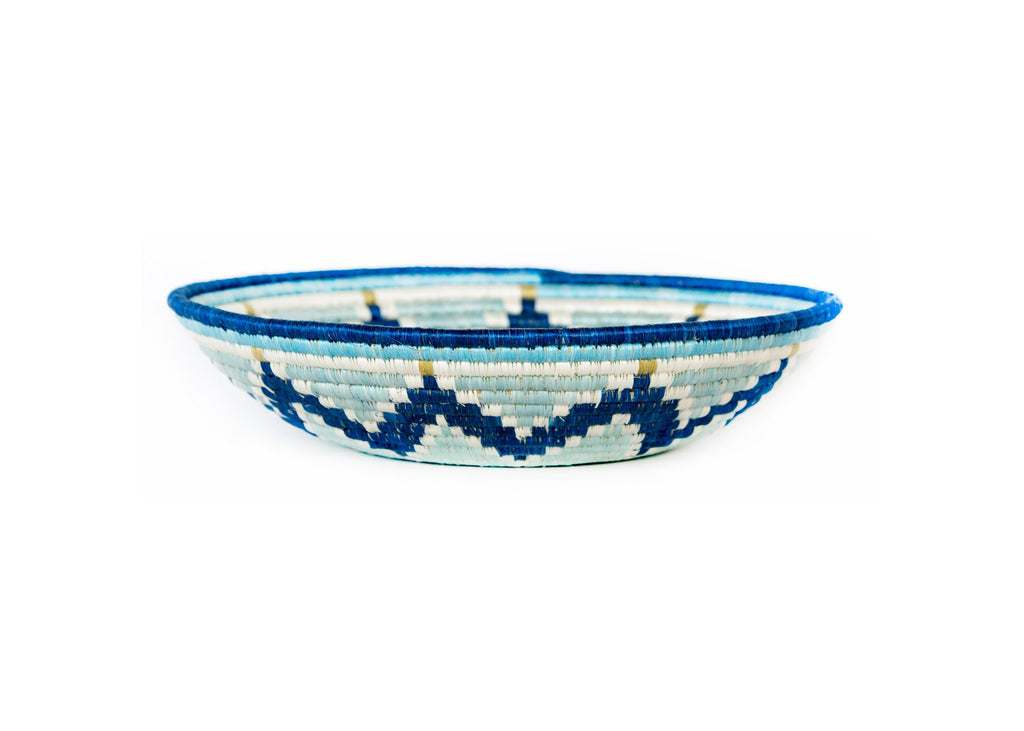 "14"" Extra Large Silver Blue + Navy Round Basket"