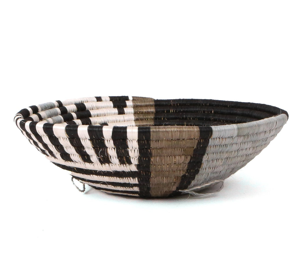"Handwoven 12""  Geometric Earth Tone Round Decorative Basket Bowl - Fair Trade from Rwanda"