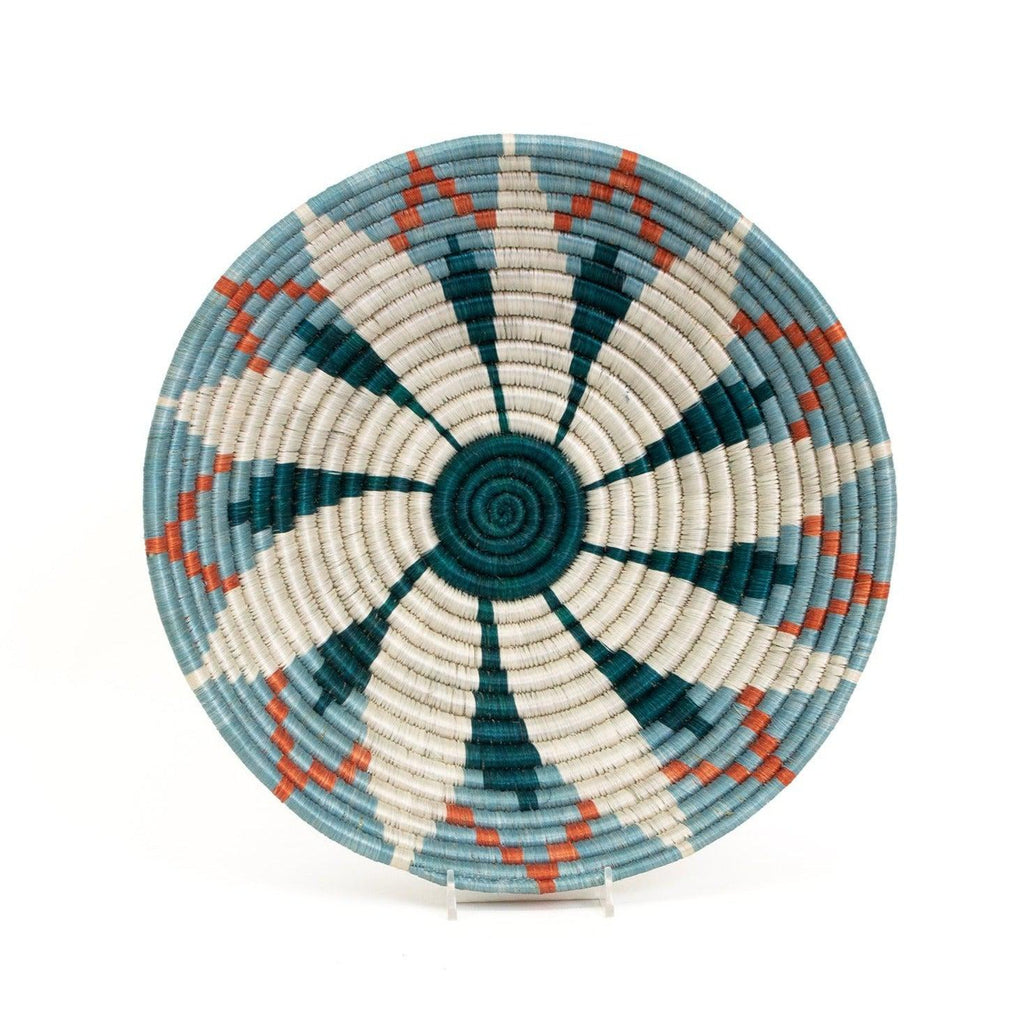 "Handmade 12"" Blue & Orange Fruit Basket Bowl- Fair Trade, Rwanda"