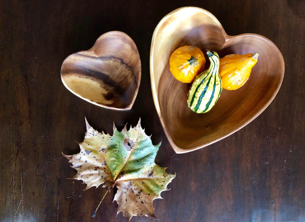 "Acacia Wood 6"" and 10"" Heart Bowl Set (2) - Fair Trade and Sustainably Harvested- Helps Create Jobs and sustains communities - Give Back Goods"