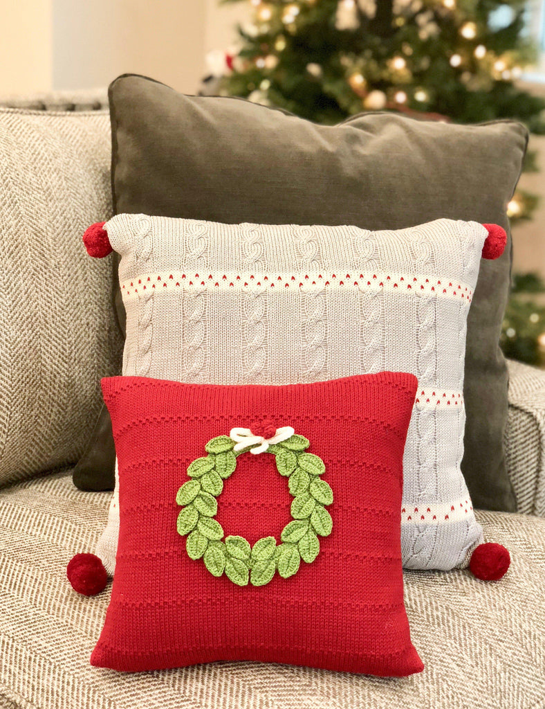 Hand Knit Red Christmas Pillow with Green Wreath, Fair Trade, Creates Jobs - Give Back Goods