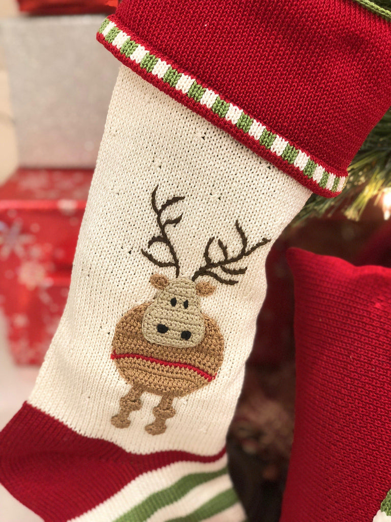 Hand Knit Reindeer Christmas Stocking, Fair Trade - Give Back Goods