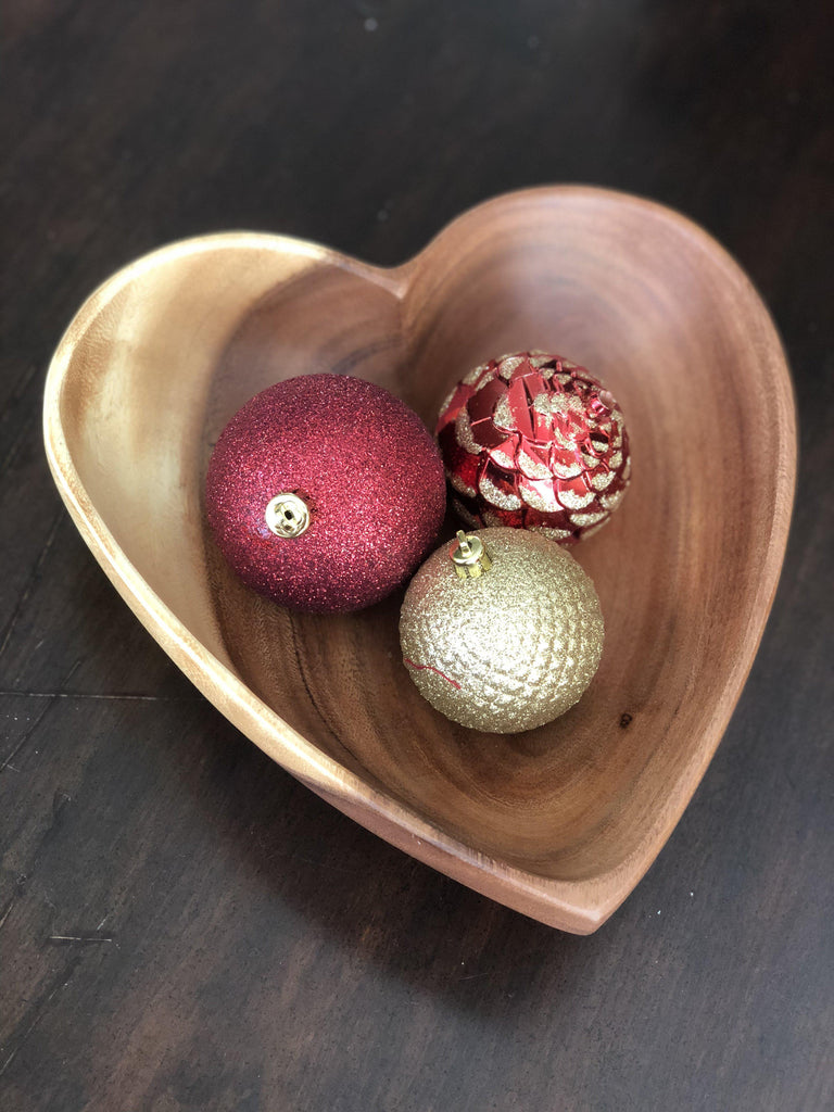 "Acacia Wood Heart Bowl - 10"" - Fair Trade, Sustainably Harvested- Creates Jobs, Sustains Communities - Give Back Goods"