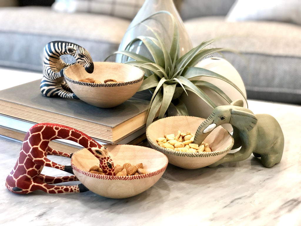 Set of 3 Hand Carved African Animal Bowls, Elephant, Zebra, Giraffe, Fair Trade & 10% goes to help animal conservation in Africa! - Give Back Goods