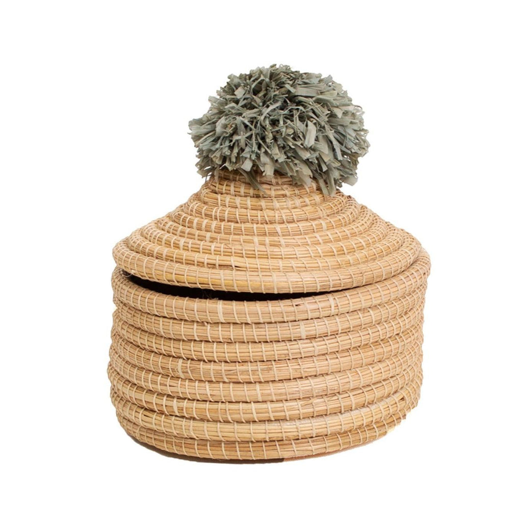 "6"" Handwoven Small Desk Basket with Pom Pom Lid - Fair Trade, Uganda"