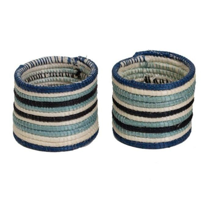 4-Striped Silver & Blue Hand Woven Napkin Rings, Fair Trade, Rwanda