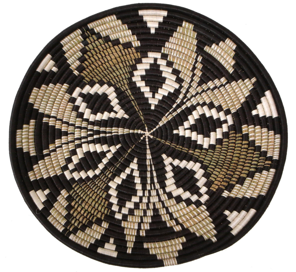 "21"" Black Hand Woven Basket Plate  Wall Art, Fair Trade, Rwanda"