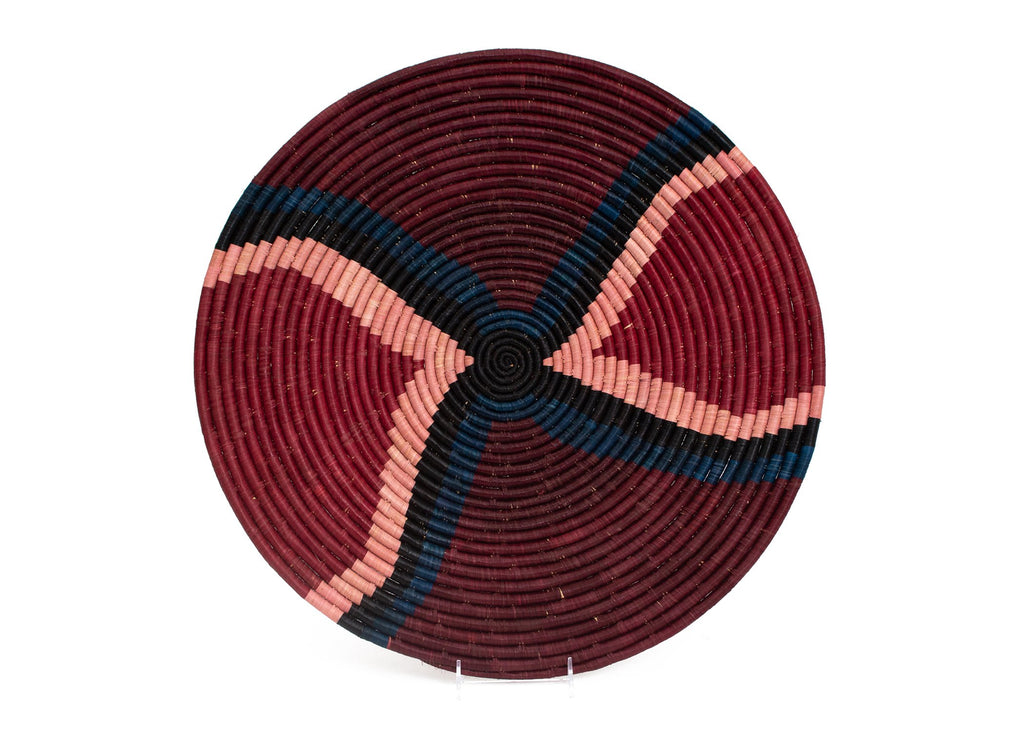 "Handwoven  21"" Burgundy Decorative Basket Plate- Fairtrade, Uganda"
