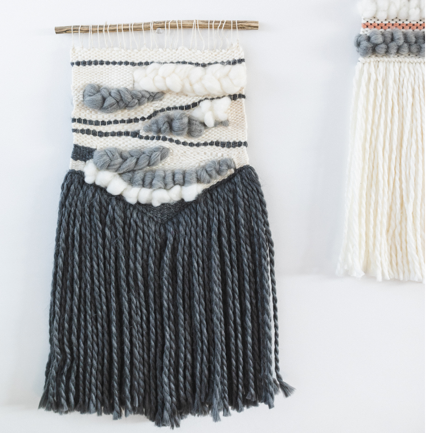 Handmade Woven Wall Hanging in Grey Tones - Helps Break the Cycle of Poverty!