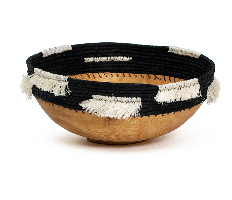 Black & White Handmade Fringed Wooden Bowl- Fair Trade from Rwanda