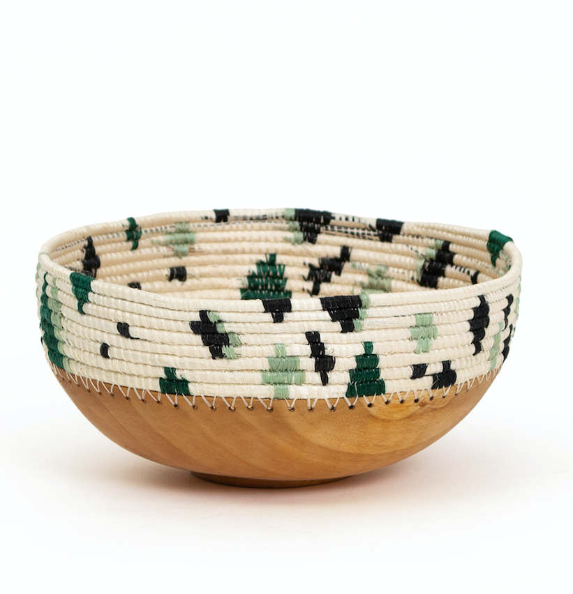 Hand Carved & Hand Woven Wooden Bowl with Green Ivy Beading- Fair Trade