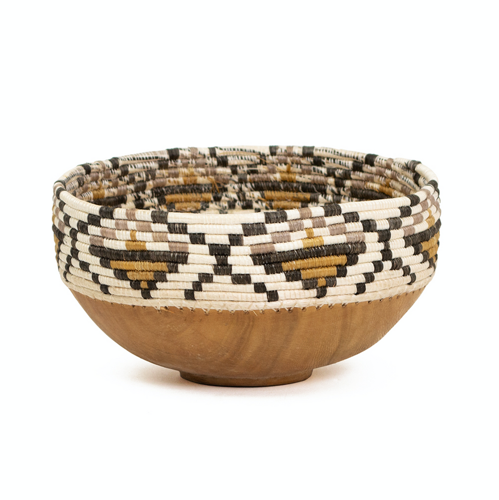 Hand Carved Wooden Bowl with Earth Tone Woven Top- Fair Trade, Rwanda