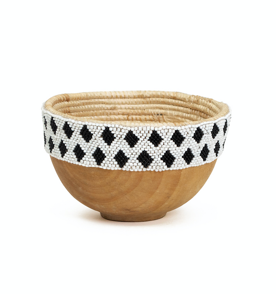 Small Hand Carved & Beaded Wooden Bowl, Fair Trade, Rwanda