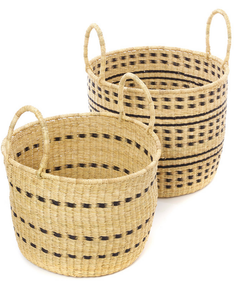 Set of 2 Handwoven Storage Baskets with Handles, Elephant Grass , Fair Trade & Eco-Friendly