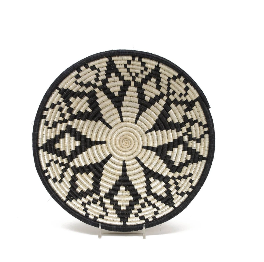 "Hand Woven 10"" Black & White Round Decorative Fruit Bowl Basket, Fair Trade,Rwanda"