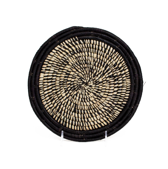 "10"" Hand Woven Black Heathered Kitchen Trivet Plate, Fair Trade, Uganda"