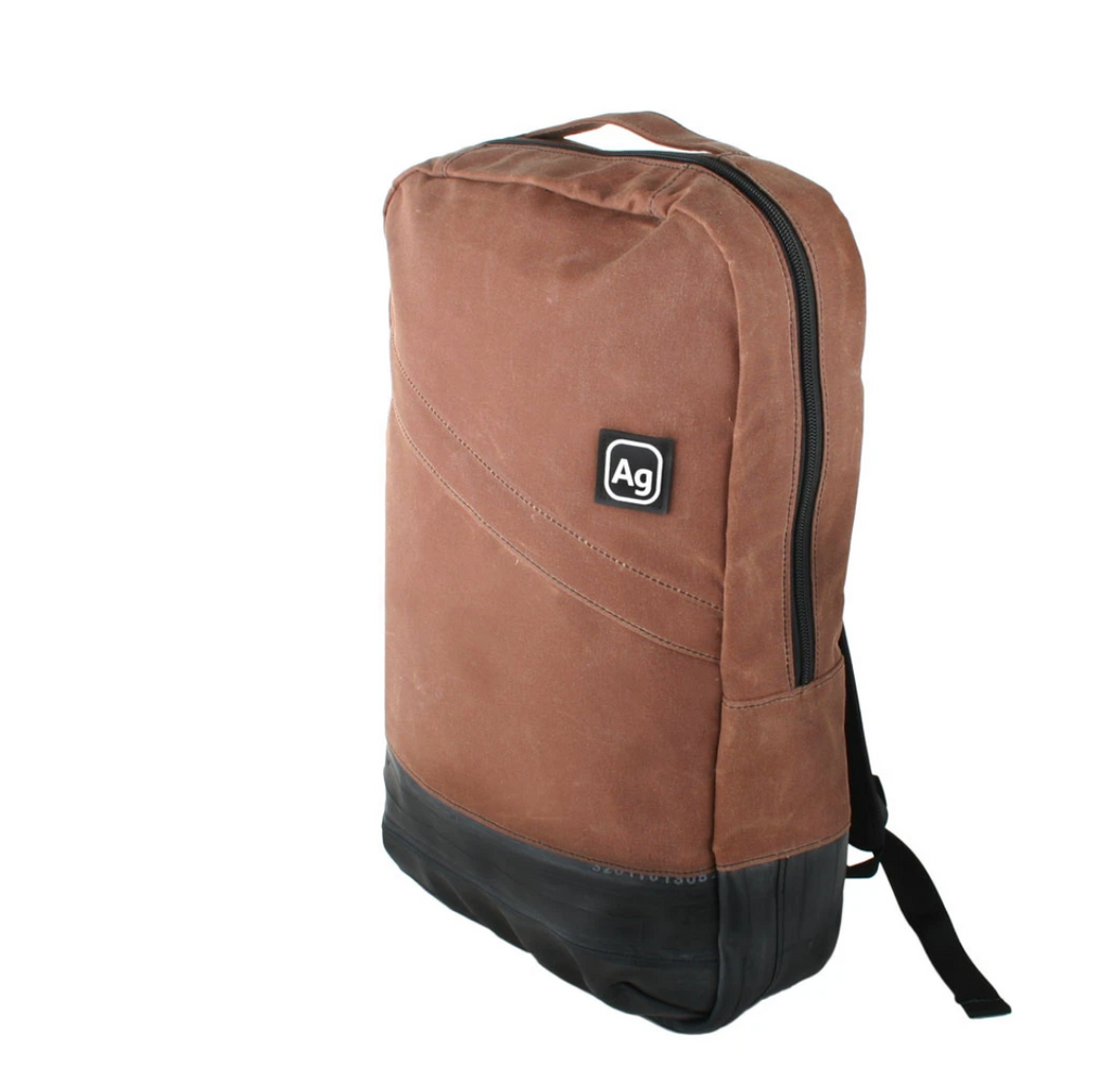 Waxed Canvas Backpack- USA Made from upcycled bicycle inner tubes- Save Landfill Space!