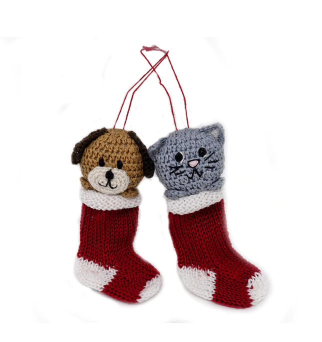 Set of 6 Hand Crocheted Dog and Cat Stocking Ornaments, Fair Trade