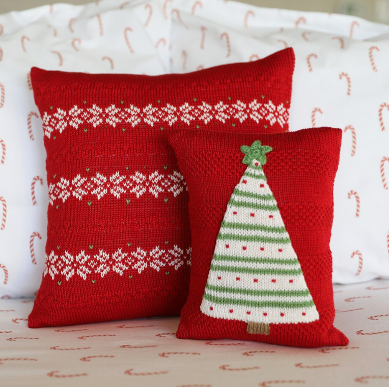 12x12 Hand Knit Red Nordic Stripe Christmas Pillow, Fair Trade