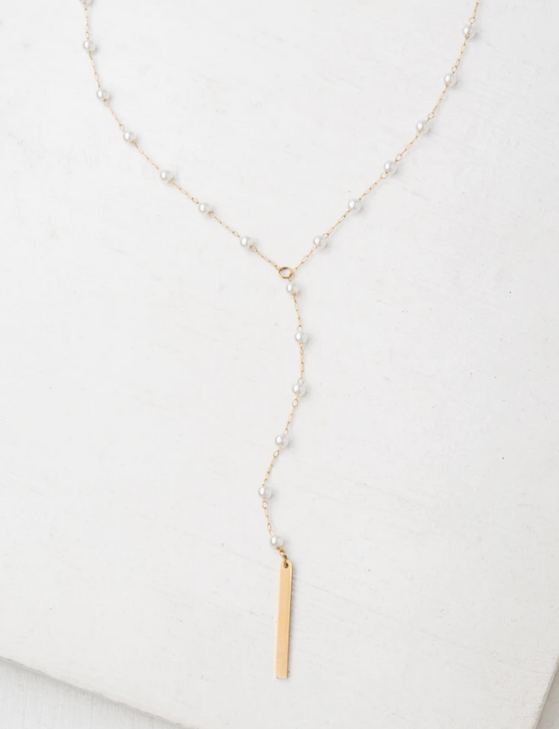 Gold Pearl Drop Necklace, Give freedom & create careers for exploited women!