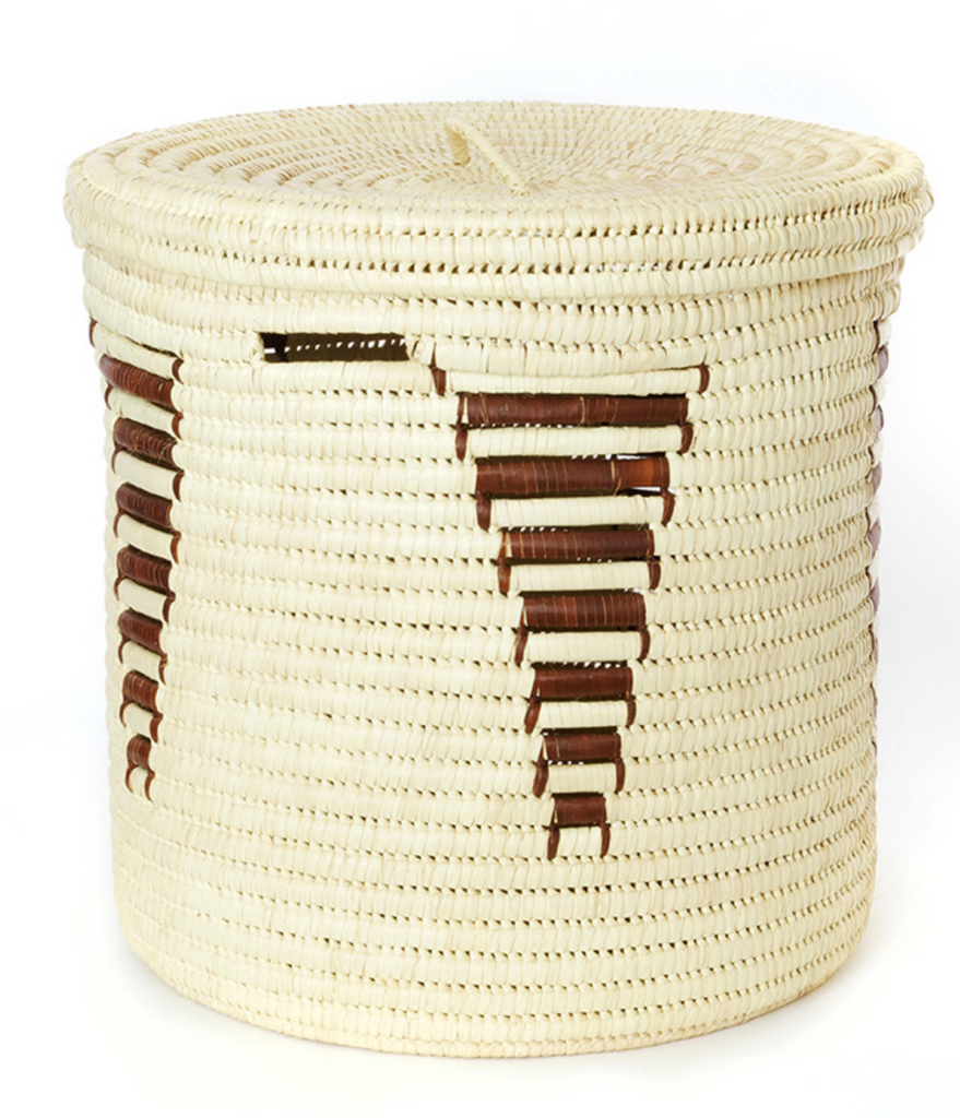 Set of 3 Handwoven Natural With Arrow Design Hamper Storage Baskets, Fair Trade