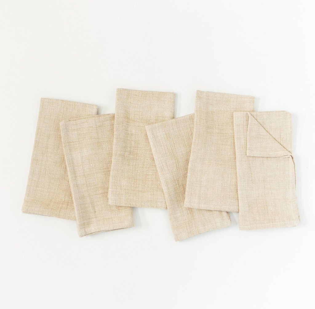 Set of 6 Hand Woven Ethiopian Cotton Petra Dinner Napkins- Navy or Beige, Eco-Friendly, Fair Trade