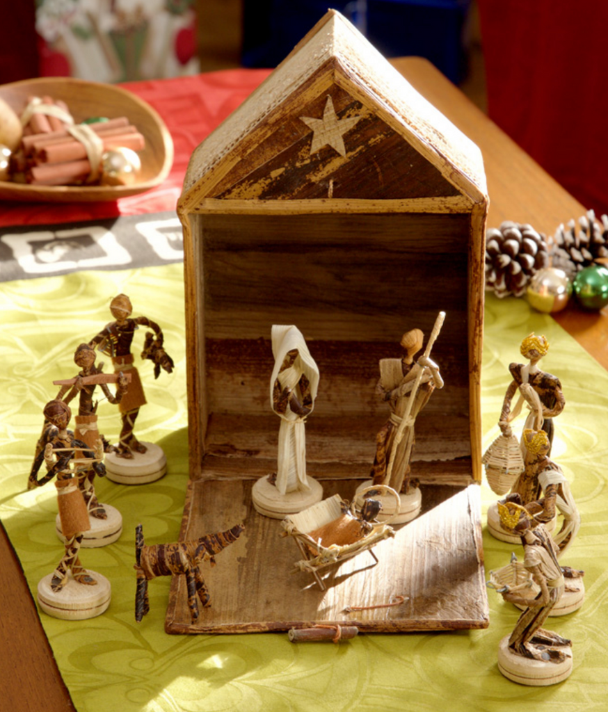Handcrafted Banana Fiber Christmas Nativity Scene, Fair Trade, Kenya & Uganda