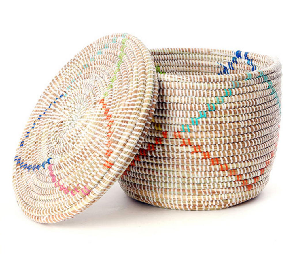 Set of Three Handwoven White Storage Baskets with Rainbow Diamonds, Fair Trade