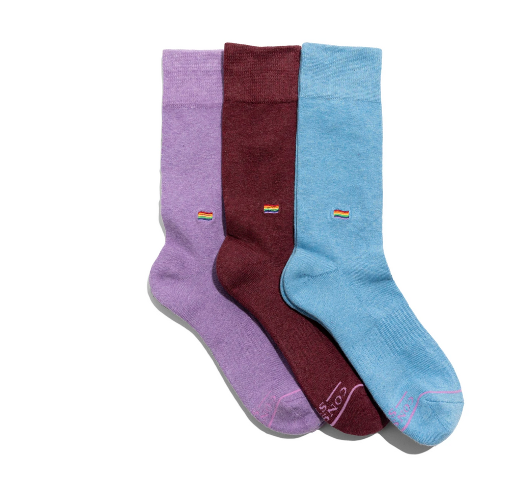 Gift box set of 3 pairs of women's organic socks- Save LGBTQ Lives
