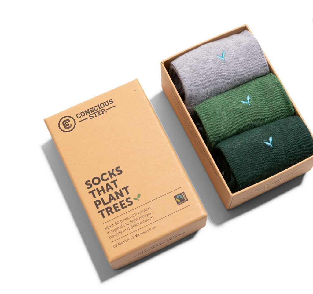 3 Pairs of Organic Ankle Socks in a Gift Box that Plant Trees!