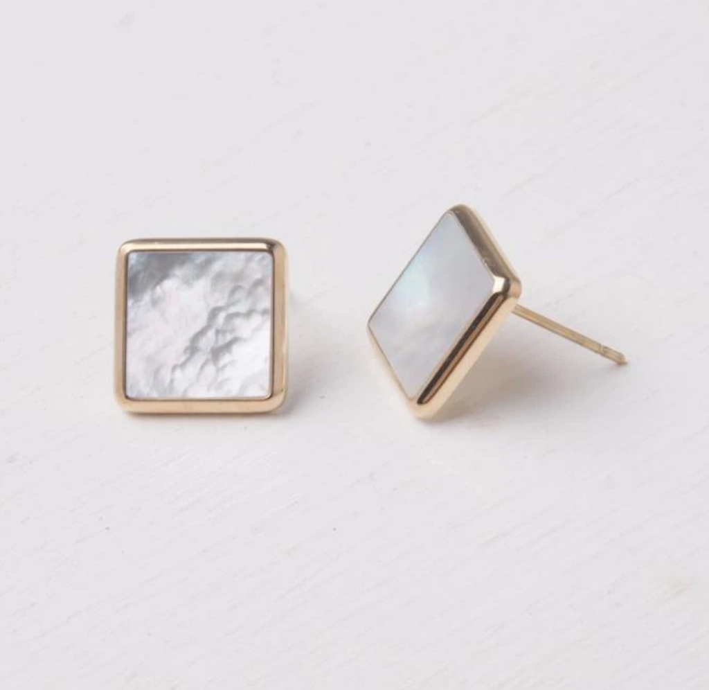 Mother of Pearl & Gold Stud Earrings, Give freedom & create careers for exploited girls & women!
