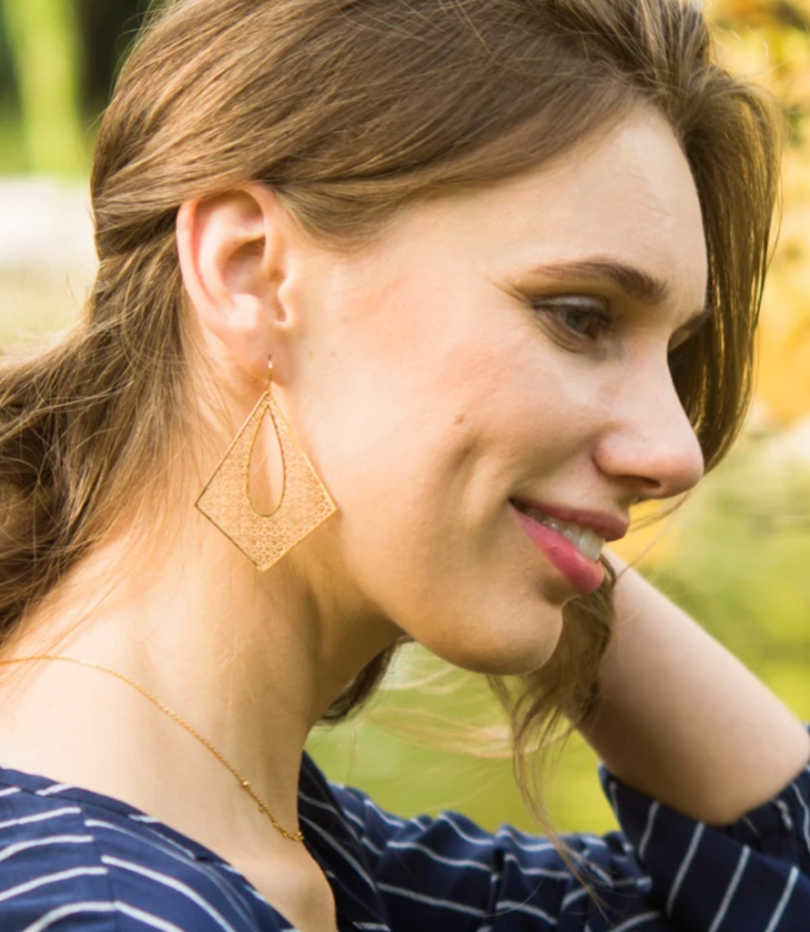 14k Gold Plated Filigree Earrings, Give freedom & create careers for exploited girls & women!