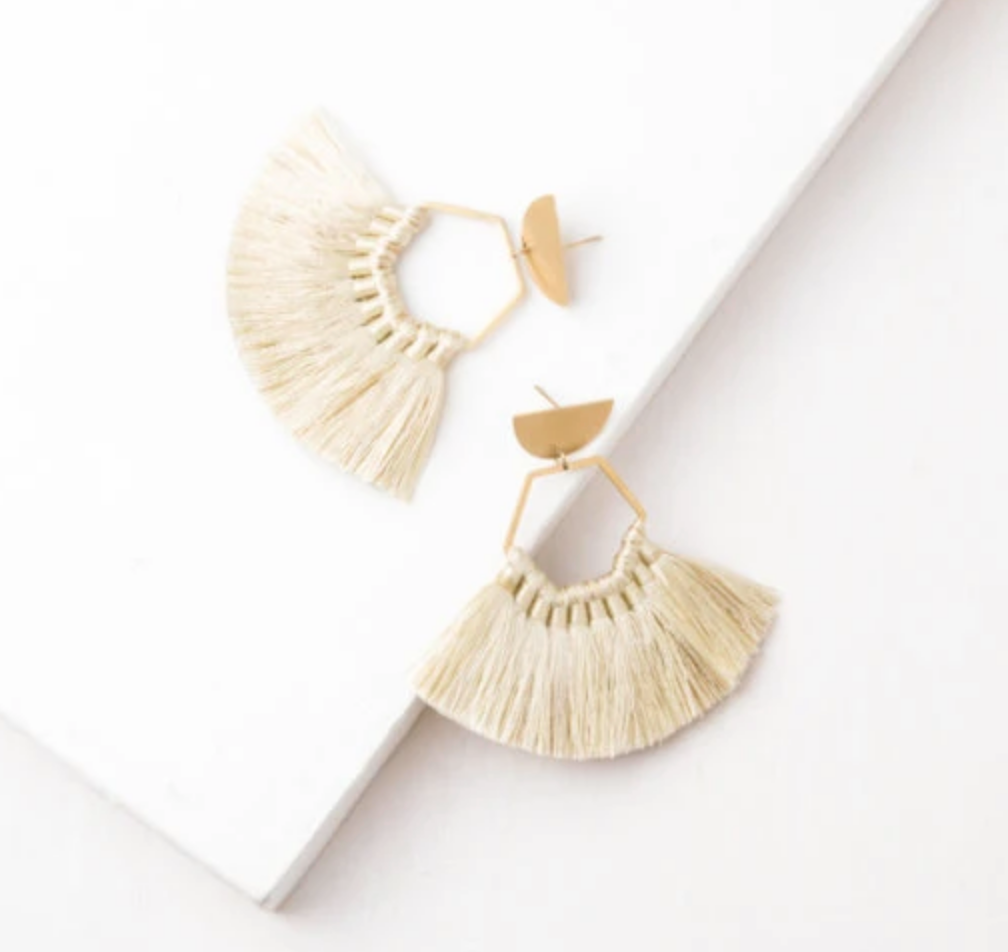 Light Beige Tassel Earrings, Give freedom to exploited girls & women!