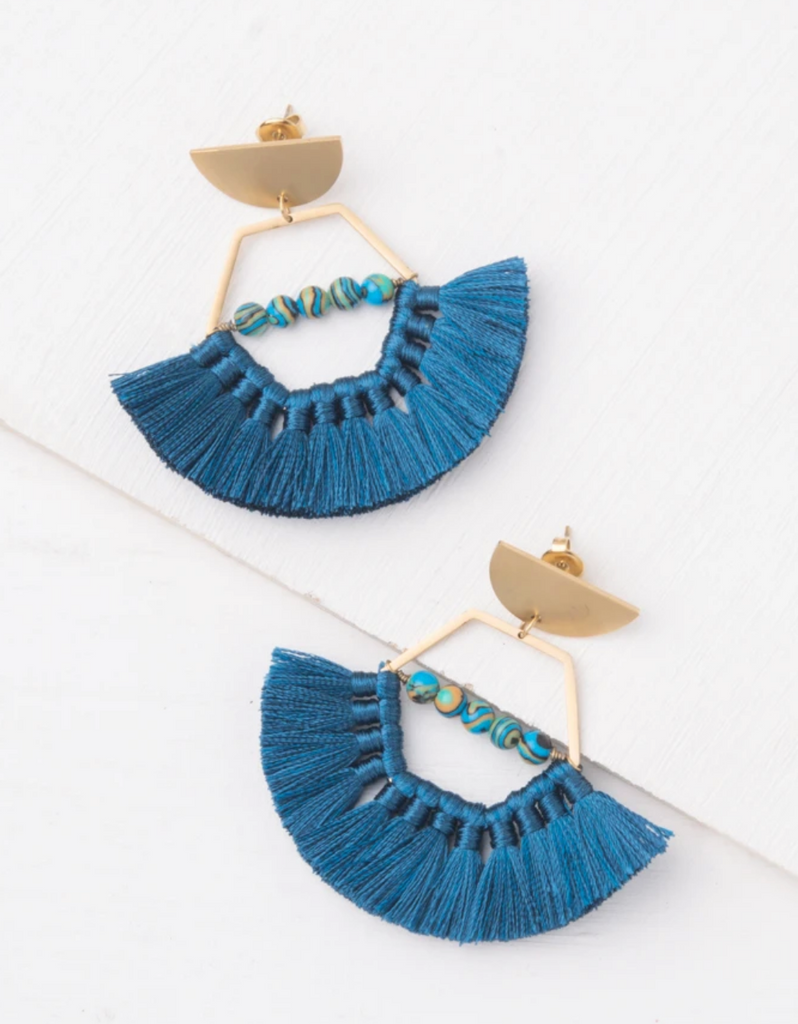 Blue Tassel Earrings, Give freedom to exploited girls & women!