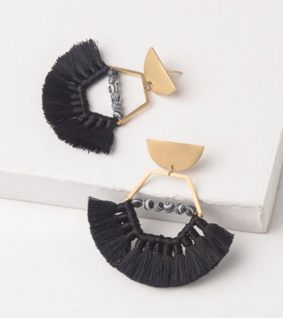 Black Tassel Earrings with Beads, Give freedom to exploited girls & women!