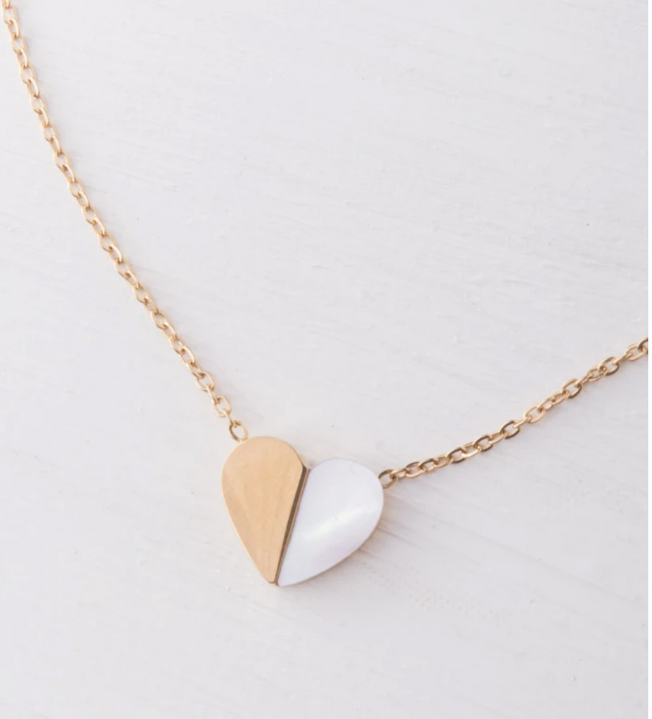Mother Of Pearl & Gold Heart Two-Sided Hope Pendant Necklace- Purchase 1 & 1 is given to a Trafficking Survivor