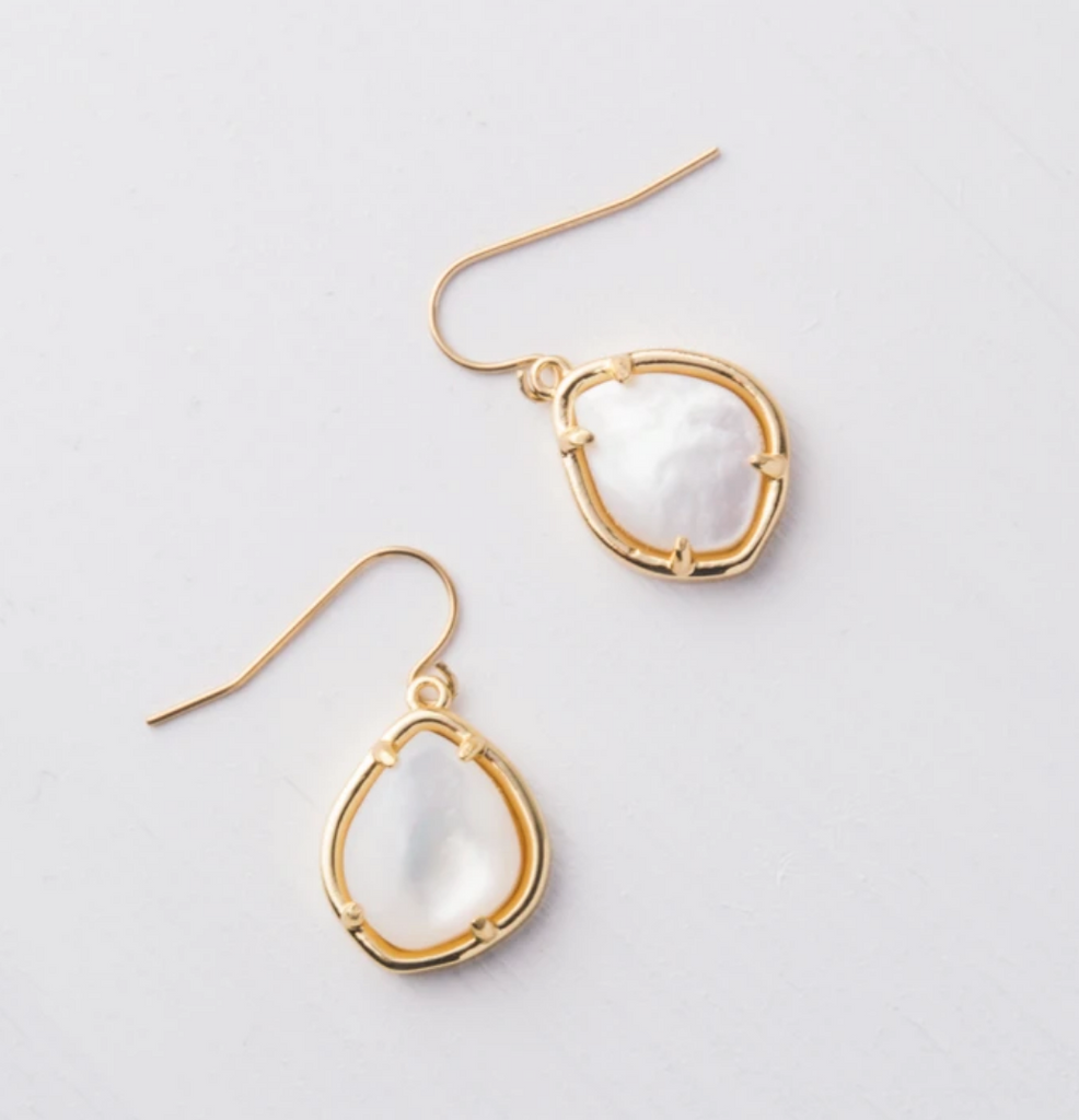 Gold Mother Of Pearl Earrings- Give Freedom To Girls & Women