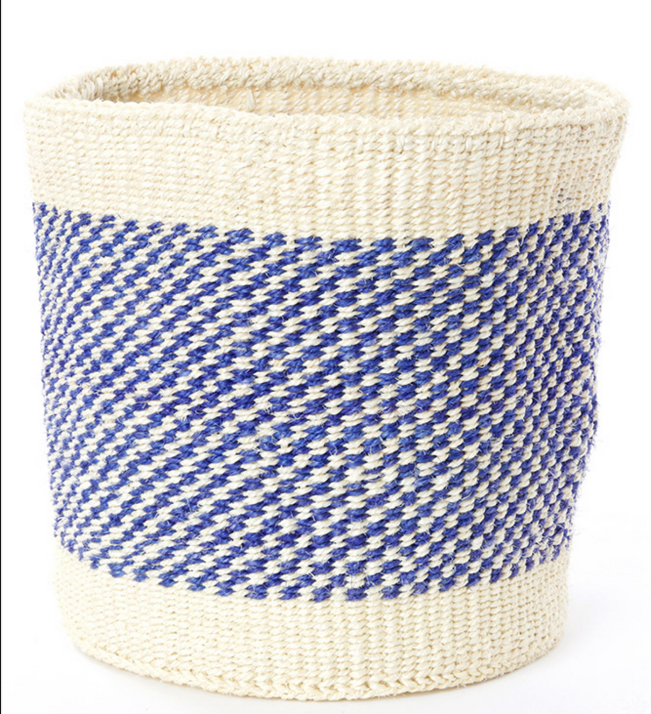 Two Handmade Blue & Cream Sisal Nesting Baskets, Kenya, Fair Trade