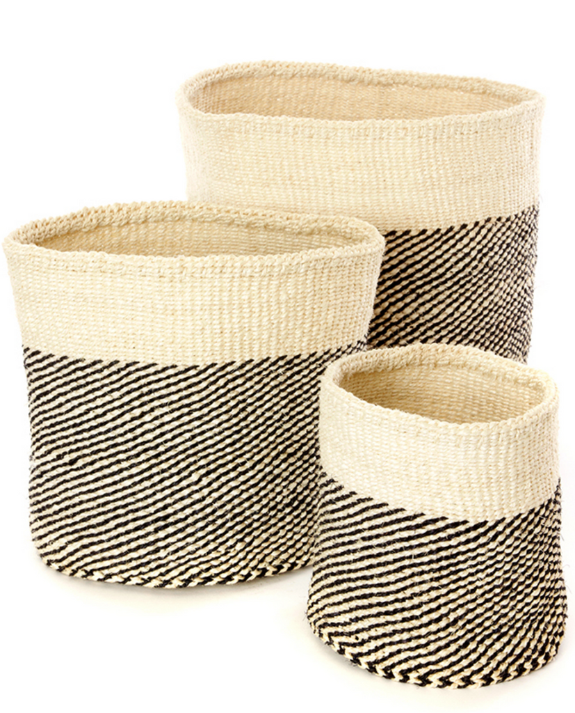 Three Handwoven Black & Cream Sisal Nesting Baskets, Kenya, Fair Trade