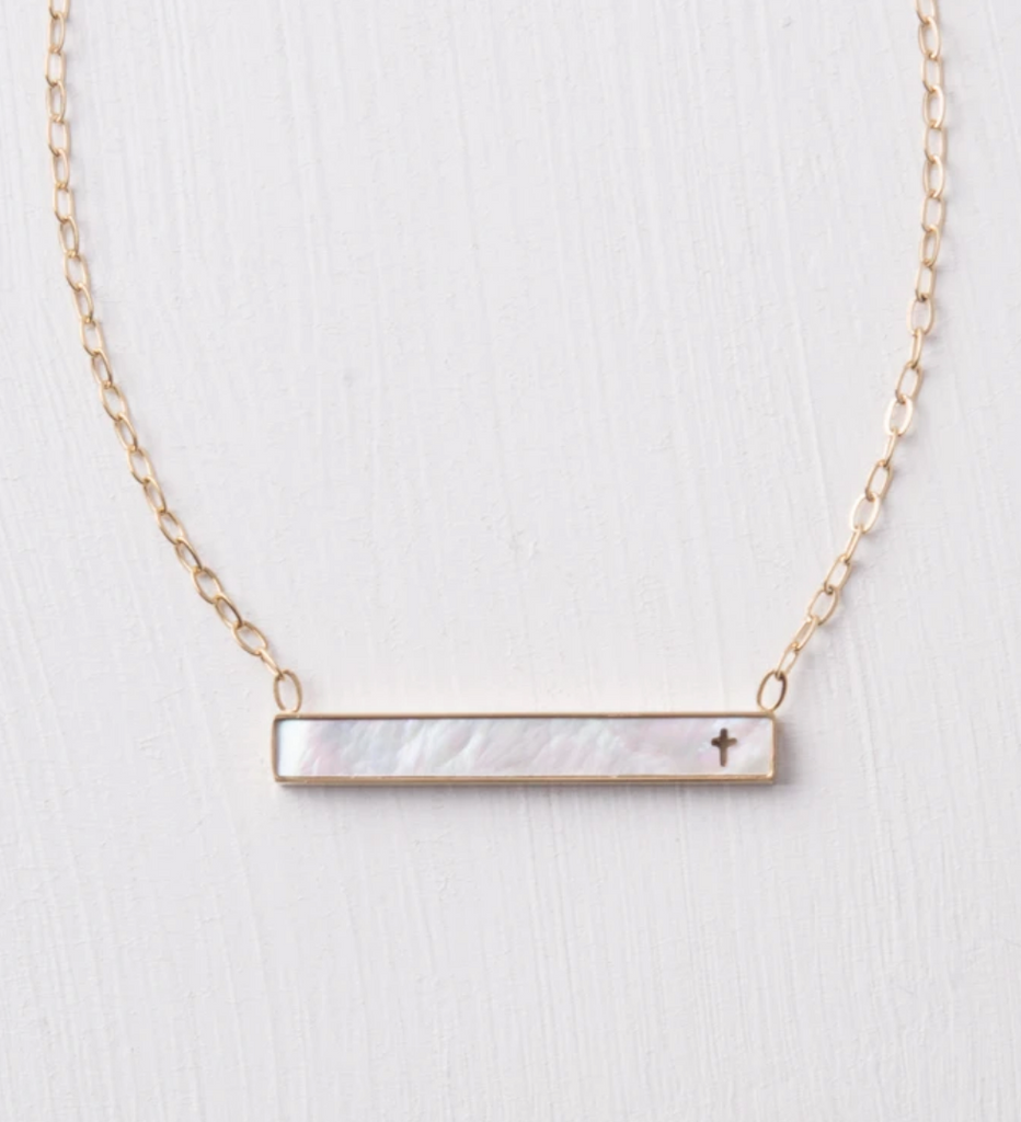 Mother of Pearl Cross Bar Necklace- Give Freedom To Women & Girls