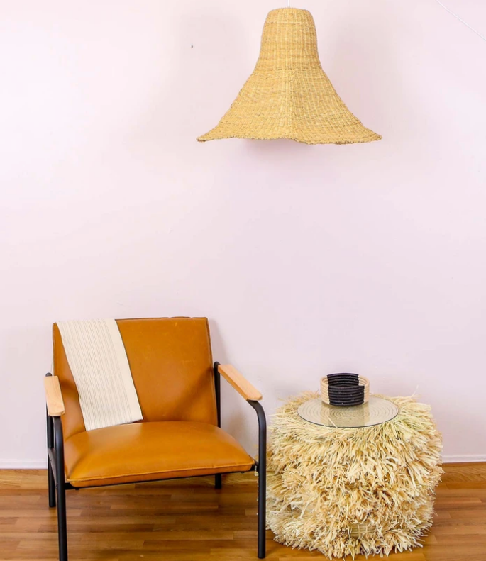 Fringed Natural Stool or Side-Table, Fair Trade, Handmade in Uganda