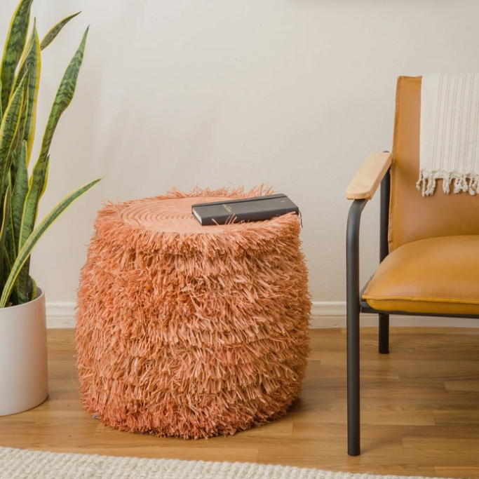 Fringed Peach / Coral Stool or Side-Table, Fair Trade, Handmade in Uganda