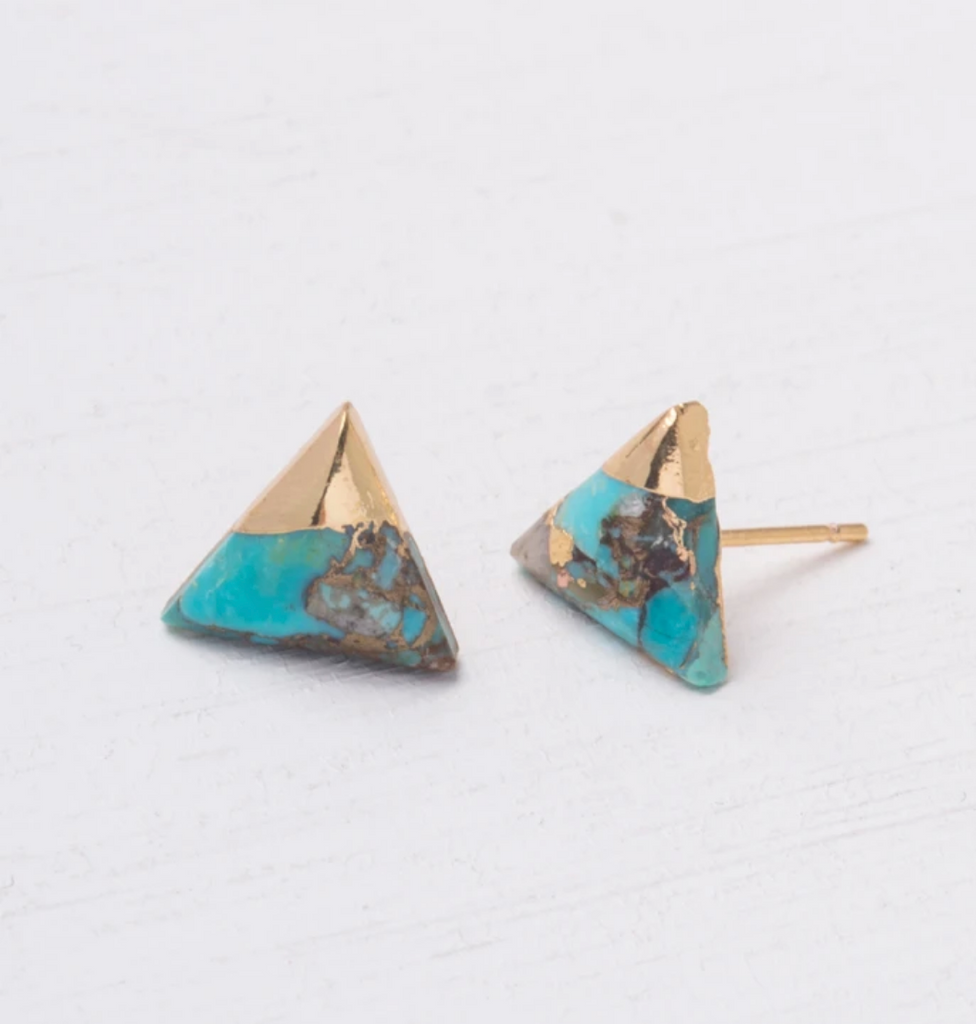 Turquoise and Gold Triangle Stud Earrings- Give Freedom To Women & Girls!