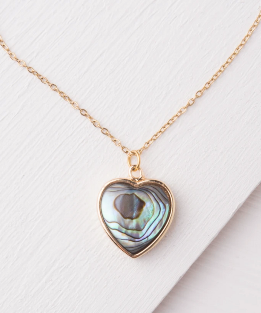 Abalone Shell Gold Heart Necklace- Give Freedom To Girls & Women