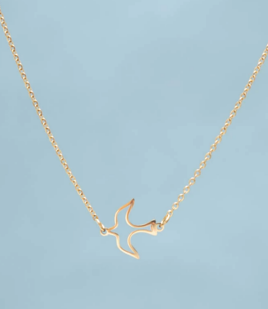 Gold Sparrow Bird Independence Necklace, Give freedom to exploited girls & women!
